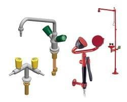 Laboratorní armatury TOF a bezpečnostní sprchy