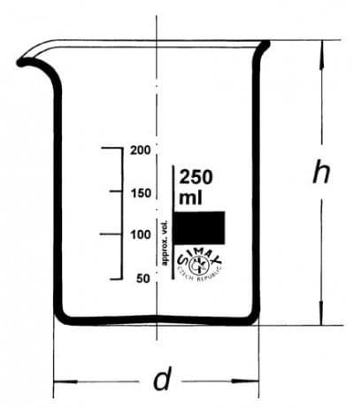 Kádinka nízká s výlevkou, 5 ml