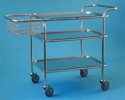 Víceúčelový vozík, malý, kostra nerezová, koš nerezový