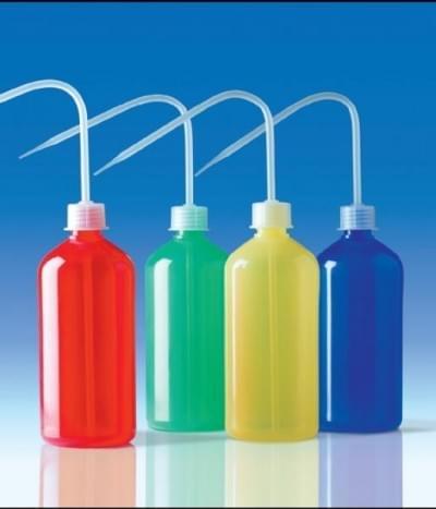 Střička celobarevná, PE-LD, úzkohrdlá, modrá, 250 ml