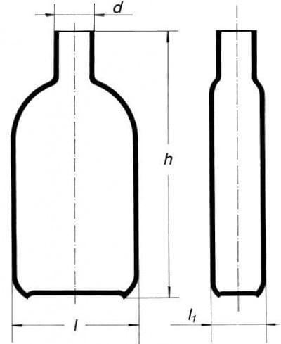 Láhev na kultury dle Rouxe, s hrdlem uprostřed, 450 ml