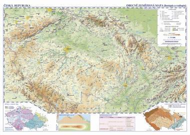 Česká republika - nástěnná fyzická mapa