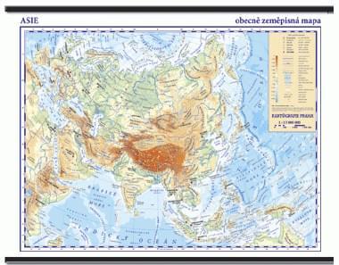 Asie - nástěnná obecně zeměpisná mapa