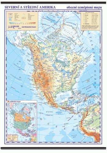 Severní a Střední Amerika - nástěnná obecně zeměpisná mapa