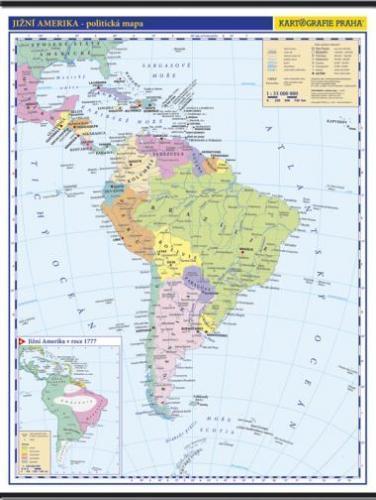 Jižní Amerika - nástěnná politická mapa
