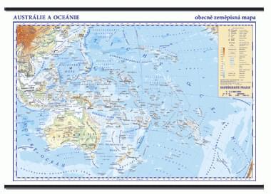 Austrálie, Oceánie - nástěnná obecně zeměpisná mapa