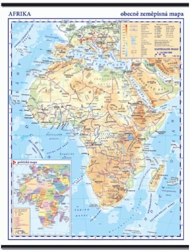 Afrika - nástěnná obecně zeměpisná mapa