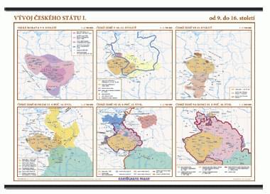 Vývoj českého státu I. (9. - 16. stol.) - nástěnná mapa