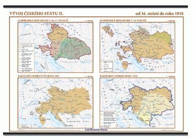 Vývoj českého státu II. (16. stol - 1918) - nástěnná mapa