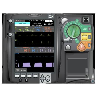 8000975 - Simulátor obrazovky pacientského monitoru Philips HeartStart MRx Emergency Care pro REALITi360