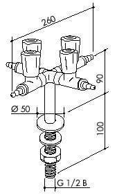 TOF 2000/60 - Čtyřmístný laboratorní plynový kohout