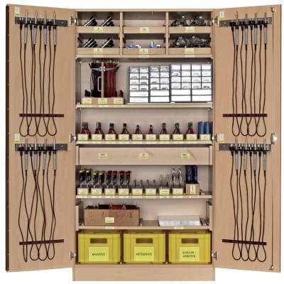 Dílenská skříň se základním vybavením pro práci s elektrosoučástkami - pro 16 žáků