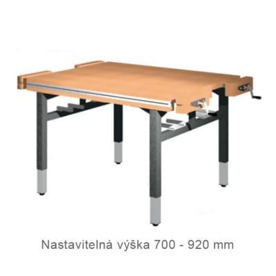 Dílenský stůl 1 500 × 1 300 × 700 - 920 - výška stavitelná centrálně klikou, 4x svěrák truhlářský čelně