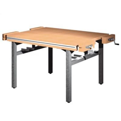 Dílenský stůl 1 500 × 1 300 × 800 - pevná výška, 4x svěrák truhlářský čelně