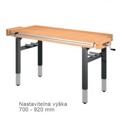 Dílenský stůl 1 500 × 650 × 700 - 920 - výška stavitelná centrálně klikou, 2x svěrák truhlářský čelně