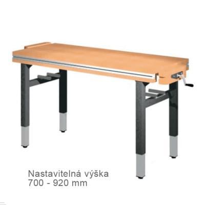 Dílenský stůl 1 500 × 650 × 700 - 920 - výška stavitelná na 4 nohách, 2x svěrák truhlářský diagonálně