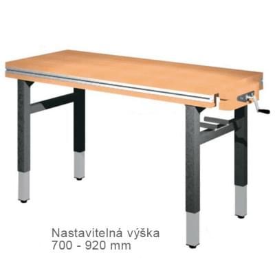 Dílenský stůl 1 500 × 650 × 700 - 920 - výška stavitelná centrálně klikou, 1x svěrák truhlářský