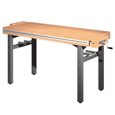 Dílenský stůl 1 500 × 650 × 800 - pevná výška, 2x svěrák truhlářský diagonálně