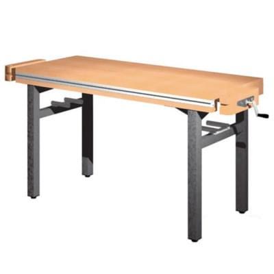 Dílenský stůl 1 500 × 650 × 850 - pevná výška, 2x svěrák truhlářský čelně