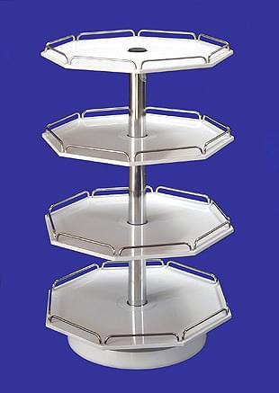 Otočník malý osmihranný - 4 patr., bílý plast, kovové části pochromované