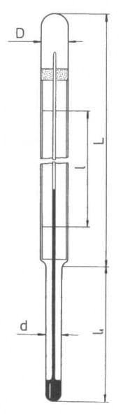 Teploměr mlékárenský, délka stonku 50 mm