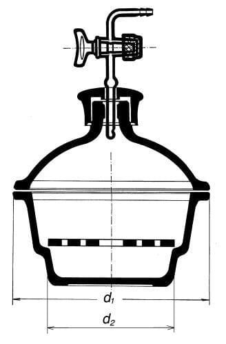 Exsikátor s plastovým hmatníkem a skleněným kohoutem - s porcelánovou deskou
