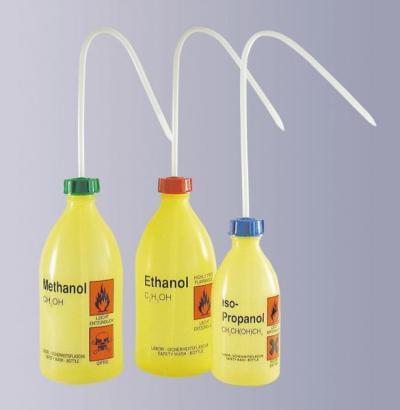Střička bezpečnostní úzkohrdlá, LDPE, s potiskem, Ethylacetát,1000 ml