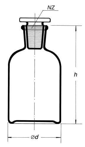 Láhev reagenční, úzkohrdlá se zabr. zátkou, hnědá, s NZ 29/32, 2 000 ml