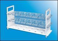Stojan na zkumavky, 3-dílný, PC, transparentní / bílý, pro 31 zkumavek o průměru 16 mm