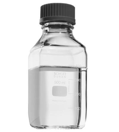 Láhev reagenční čtyřhranná s modrým uzávěrem DURAN, čirá, GL 32