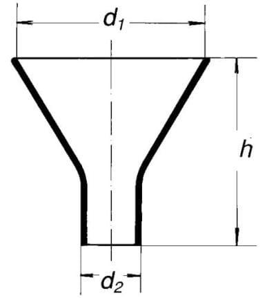Násypka s krátkým rovným koncem, 200 mm