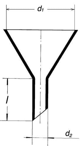 Násypka s krátkým šikmým koncem, 150 mm