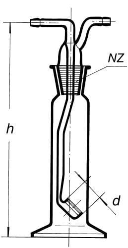 Promývačka s fritovým nástavcem,  S 2, 100 ml