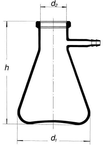 Láhev odsávací se skleněnou olivkou, 2000 ml