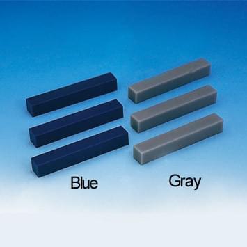 Voskové bloky k modelování zubů (15 × 15 × 100 mm), sada pěti bloků, modré