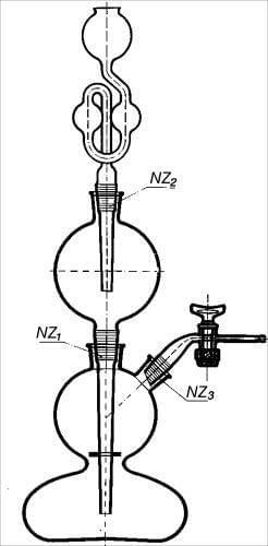 Přístroj Kippův s polokulovitým spodním dílem a zabroušeným příslušenstvím