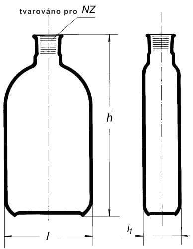Láhev na kultury dle Rouxe, hrdlo uprostřed, NZ, 1000 ml