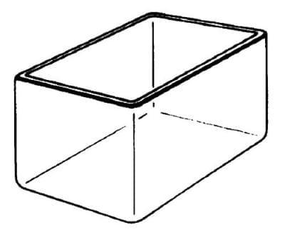 Vana skleněná, hranatá, 150 × 100 × 150 mm