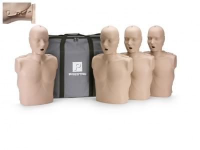 Prestan KPR-AED figurína dospělého člověka s pohyblivou čelistí a KPR monitorem - balení 4 ks