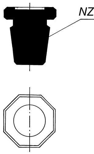 Zátka plná - osmihranná s NZ 34/35, odlehčená