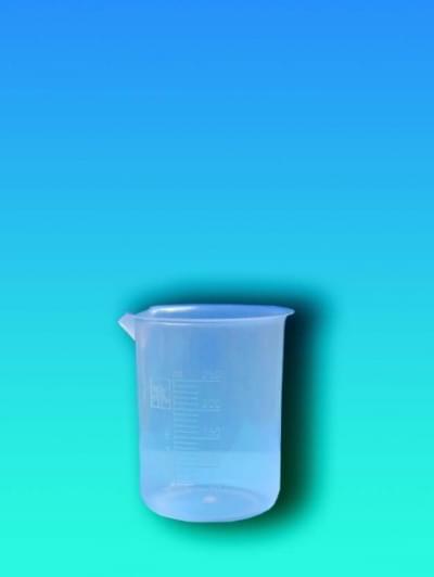 Kádinka 100 ml, PP, průsvitná, lisovaná stupnice
