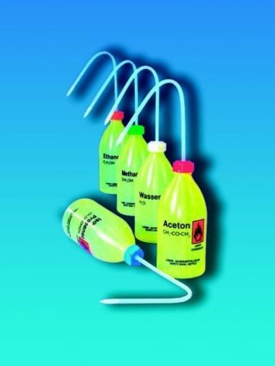 Střička bezpečnostní úzkohrdlá, LDPE, s potiskem, destil. voda, 250 ml
