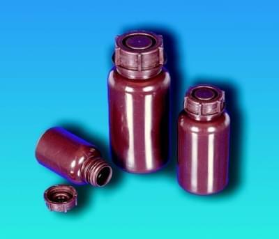 Láhev širokohrdlá,  LDPE, kulatá, hnědá, bez uzávěru, 250 ml