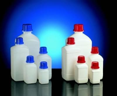Láhev reagenční, úzkohrdlá HDPE, čtyřhranná, průhledná, bez uzávěru, 100 ml