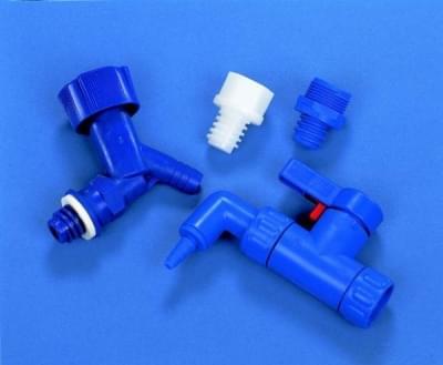 Kohout pro láhev skladovací HDPE, modrý - HPDE