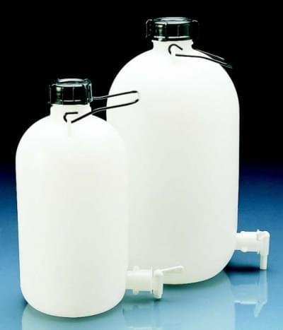 Láhev skladovací s výpustným kohoutem, HDPE, s držadlem, 10 l