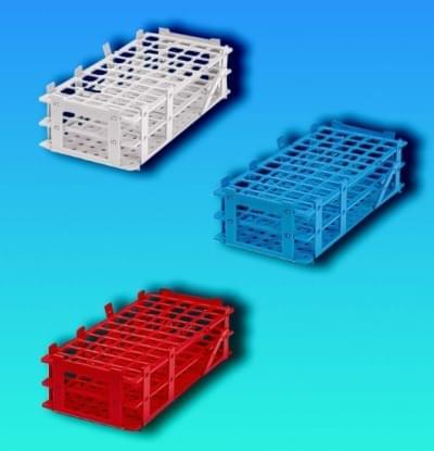 Stojan na zkumavky, PP, červený, stohovatelný, 3 × 7 míst