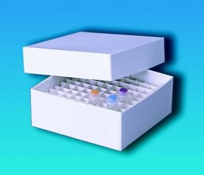Kryobox papírový, 136 × 136 mm, plastový potah, 75 mm