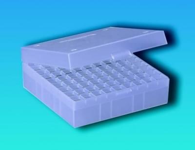 Kryobox s mřížkou, PP, pro 1,2 - 2 ml zkumavky, průhledná