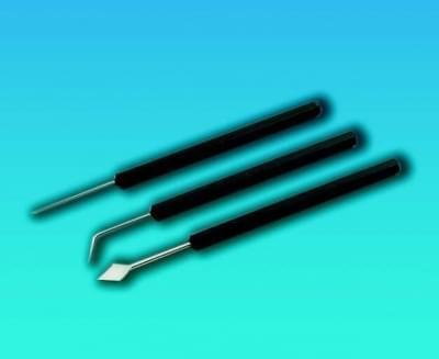 Jehla preparační s platovou rukojetí, délka 150 mm, zahnutá, pro průměry 1,0 mm